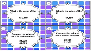 Ordering and Comparing Numbers Task Cards
