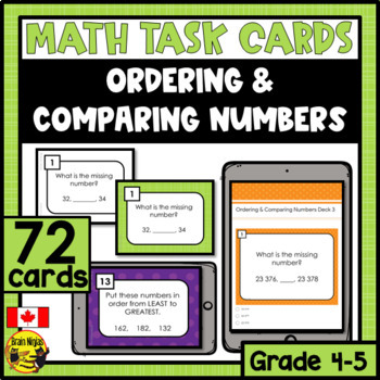 Ordering and Comparing Numbers Task Cards Grades 4-5