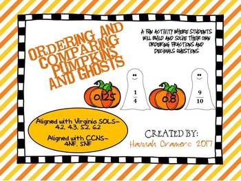 Ordering and Comparing Pumpkins and Ghosts- A Fraction and Decimal Review Game