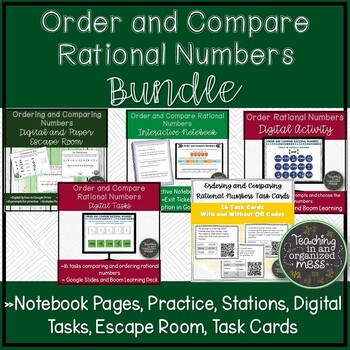 Comparing and Ordering Rational Numbers BUNDLE--Stations, Notebook