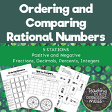 Compare and Order Rational Numbers Middle School Math Stations
