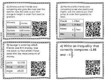 Ordering and Comparing Rational Numbers with QR codes