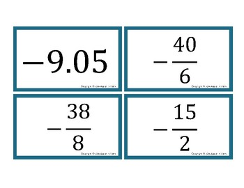 Ordering and Comparing Rational and Irrational Numbers Activity