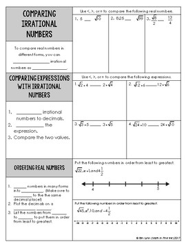 Ordering and Comparing Real Numbers Guided Notes PDF 8 NS A 2 Go Math
