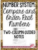 Ordering and Comparing Real Numbers Guided Notes PDF 8.NS.