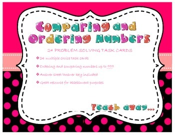 Ordering and comparing numbers: problem solving task cards