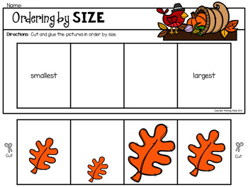 Ordering by Size and Number - Thanksgiving