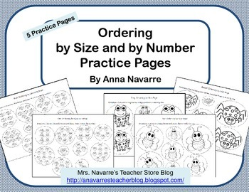 Ordering by Size and by Number Practice Pages