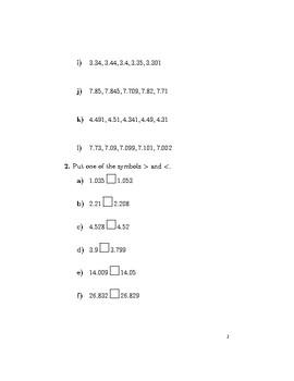 Ordering decimals 2