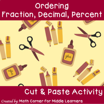 Fraction, Decimal, Percent Ordering: Cut and Paste Activity