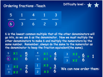 Ordering fractions powerpoint