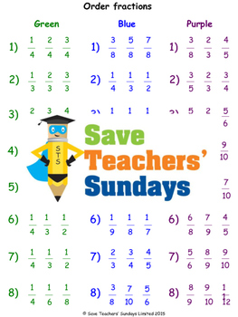Ordering Fractions Using a Fractions Wall Lesson Plans, Worksheets and More