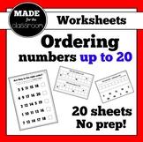Ordering Numbers to 20 No Prep Worksheets