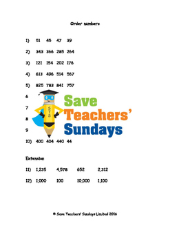 Ordering Numbers Worksheets (4 levels of difficulty)