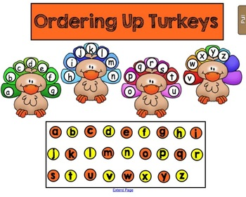 Thanksgiving - Ordering up Turkeys - Alphabet Sequencing Game for SMARTboard