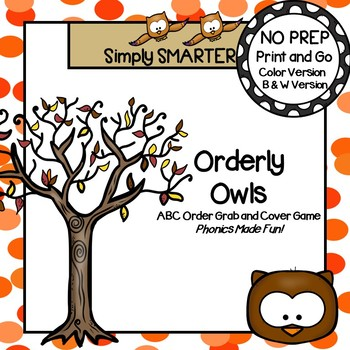 Orderly Owls:  NO PREP Owl Themed Alphabetical Order Grab and Cover Game
