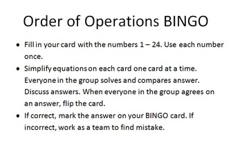 Orderof Operations BINGO