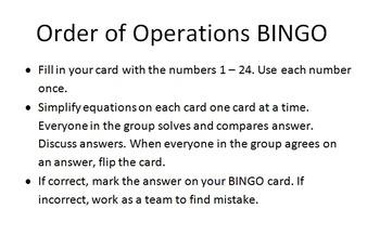 Orderof Operations BINGO