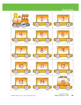 Orders Numbers 1 to 15 (Number Sense)