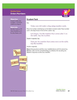 Orders Numbers (Math Assessment PreK)