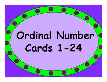 Ordinal Number Cards 1-24