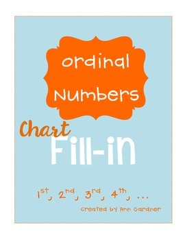 Ordinal Number Chart (Fill-in the blank) - FREEBIE