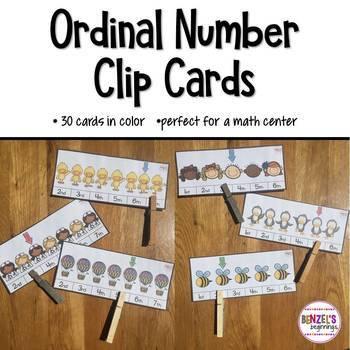 Ordinal Number Clip Cards