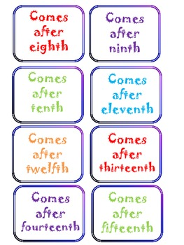 Ordinal Number Connect Four