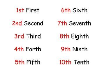 Ordinal Number Match Cards