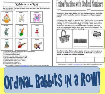 Ordinal Number Math Activity with a Bunny Theme!