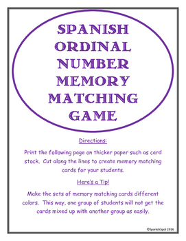 Ordinal Number Memory Matching Card Game in Spanish