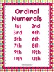 Sequence Ordinal Numbers 1-12 Build Skills & Fluency Flash Cards, Practice Pages