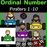 Ordinal Number Posters 1-10 Race cars