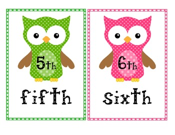 Ordinal Number Posters - Owl Themed