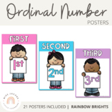 Ordinal Number Posters - Rainbow Classroom Decor