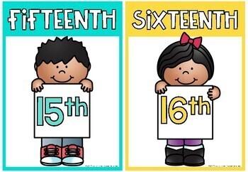 Ordinal Number Posters - Rainbow Classroom Decor