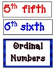 Ordinal Number Words Posters-Red and Blue