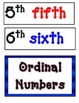 Ordinal Number Words Posters-Red, blue and black