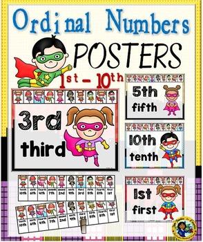 Ordinal Number Posters – Superheroes