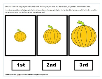 Ordinal Number Pumpkin Assessment Cards