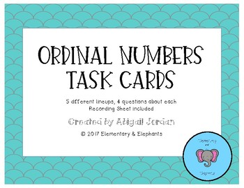 Ordinal Number Task Cards