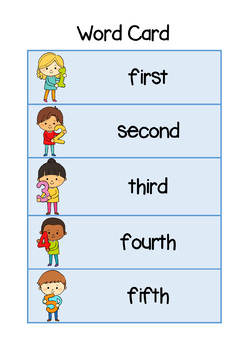 Ordinal Number Word Card - Color