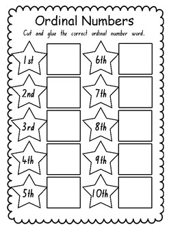 Ordinal Number Word Cut and Paste Worksheet