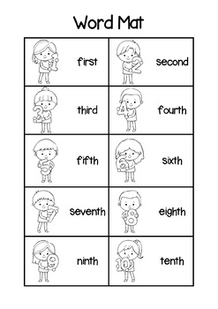 Ordinal Number Word Mat