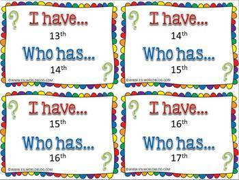 Ordinal Numbers 1-20 I Have Who Has Game