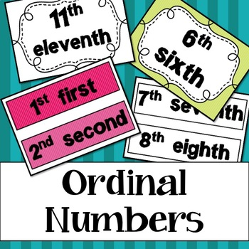 Ordinal Number Posters - Colour + Black and White