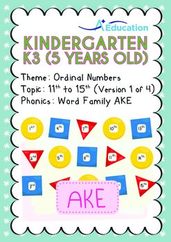 Ordinal Numbers - 11th to 15th (I): Word Family AKE - K3 (5 years old)