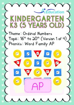 Ordinal Numbers - 16th to 20th (I): Word Family AP - K3 (5 years old)
