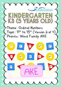 Ordinal Numbers - 11th to 15th (II): Word Family AKE - K3 (5 years old)