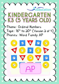Ordinal Numbers - 16th to 20th (II): Word Family AP - K3 (5 years old)